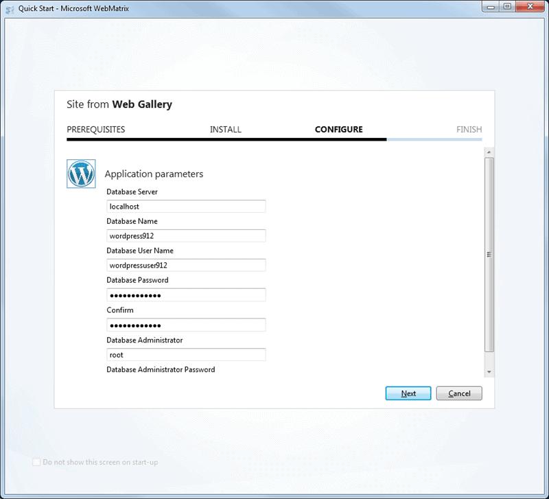 Installing Wp using Webmatrix