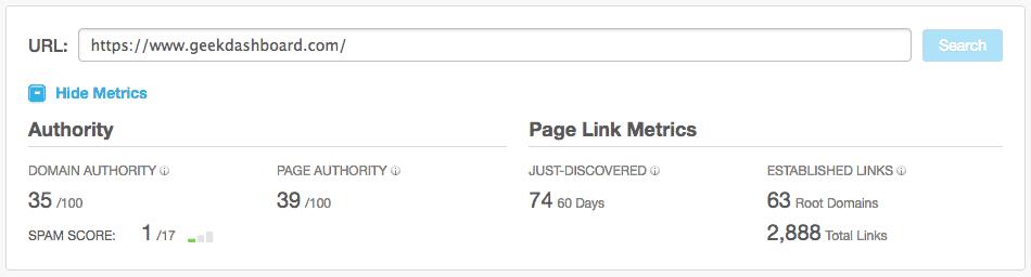 Geek Dashboard Domain Authority