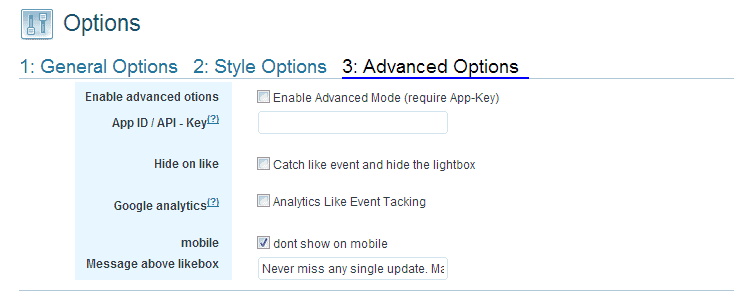Advanced Options Premium Facebook Fanpage Promoter