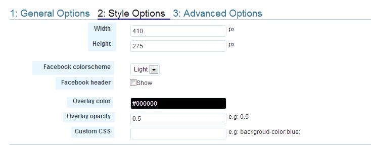 Style Options Premium Facebook Fanpage Promote