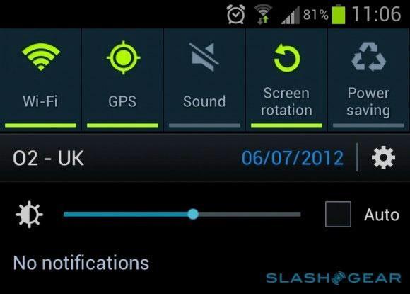 Brightness option in Samsung Galaxy S3