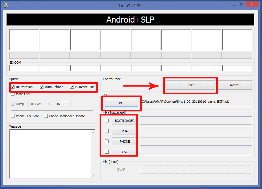 ODIN Settings to root samsung galaxy S4