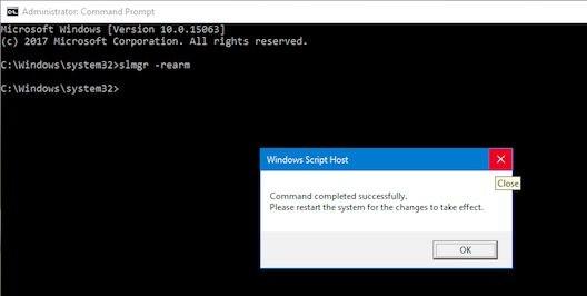 Run slmgr -rearm command as administrator to fix Windows not genuine error