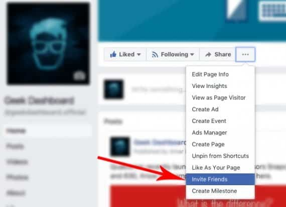how to invite all facebook friends to page