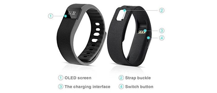 Attachments Bluetooth LED Fitness Band Activity Tracker