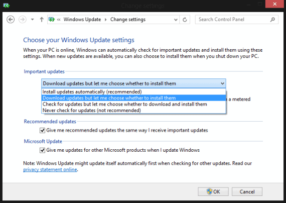 Turn Off Automatic Updates in Windows 8