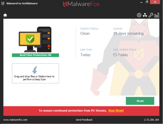 MalwareFox Review - Dashboard UI