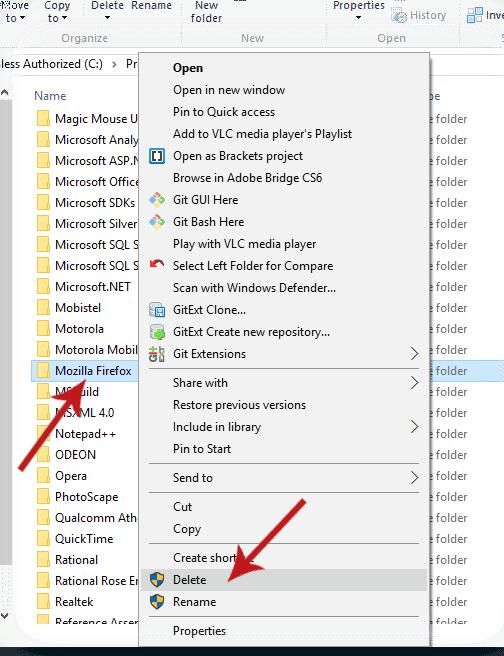 Delete Mozilla Firefox folder