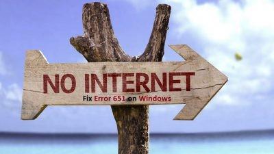Fix Error 651 on Windows
