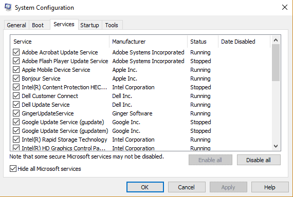 Hide all Microsoft Services - System Configuration