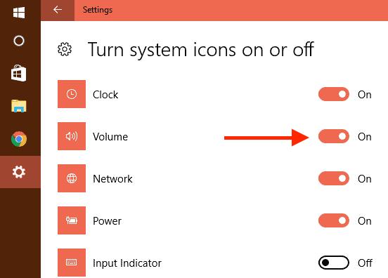 Turn on Volume to show volume icon in taskbar