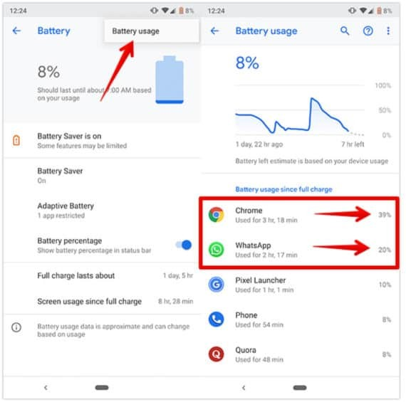 Battery Usage in Google Pixel