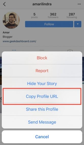 Copy profile URL of Instagram account