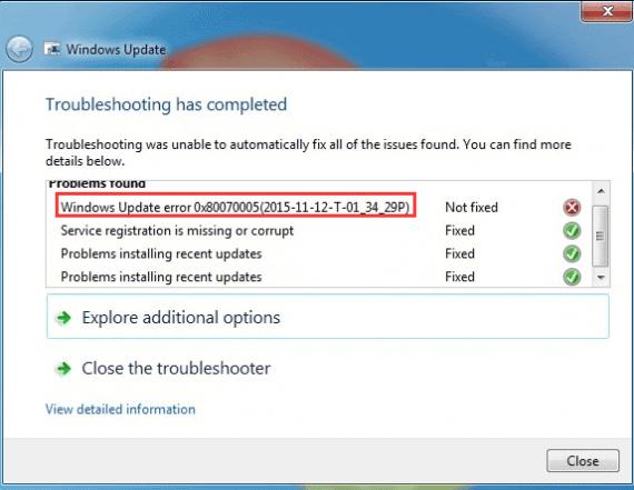 installation of windows update