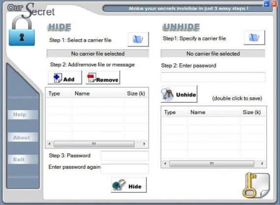 our secret steganography software
