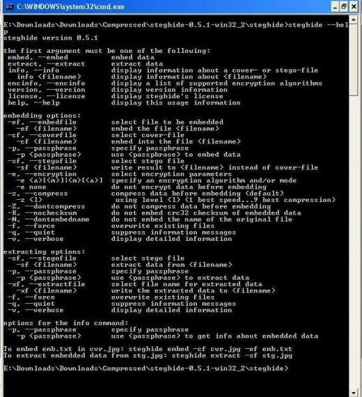 steghide steganography software