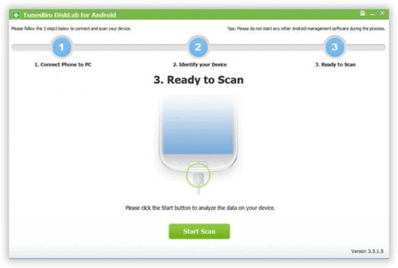 Scan your device to find deleted data