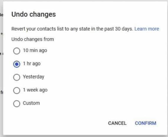 Select the time frame to restore the contacts