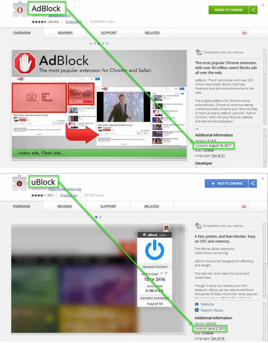 Adblock vs UBlock - Updates