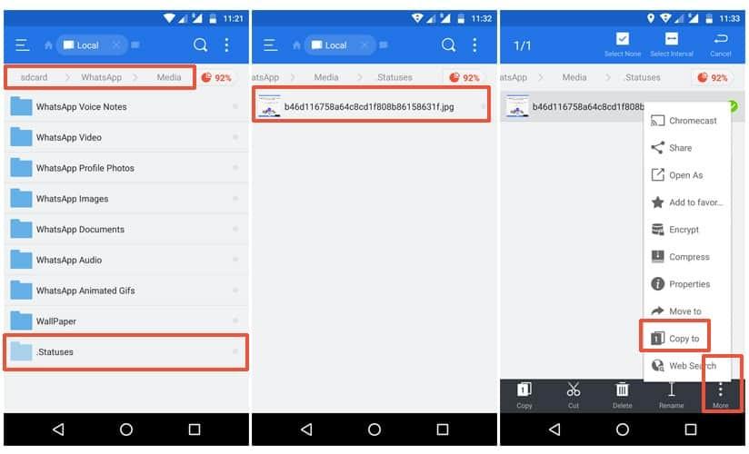 Save WhatsApp Status using ES File Explorer