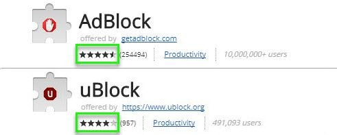 UBlock vs Adblock - Rating