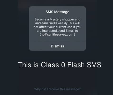 example of class 0 flash SMS in iPhone