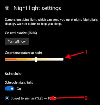 Night light settings in Windows 10