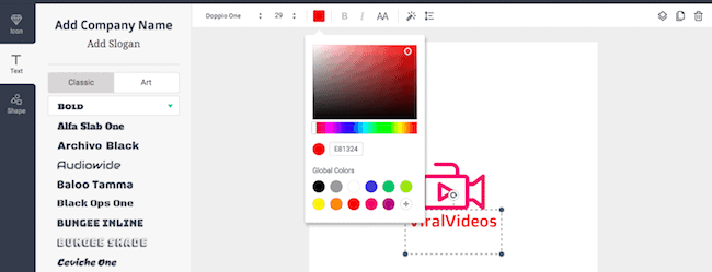 Add color and text to logo