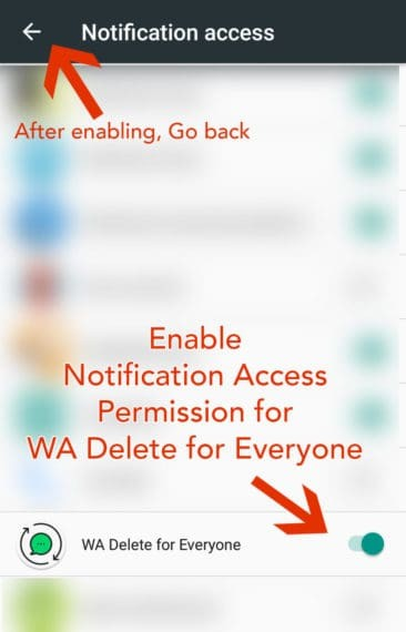 enable notification access permission for WA Delete for Everyone