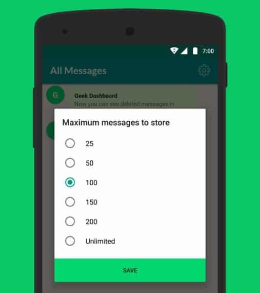 whatsapp message history size