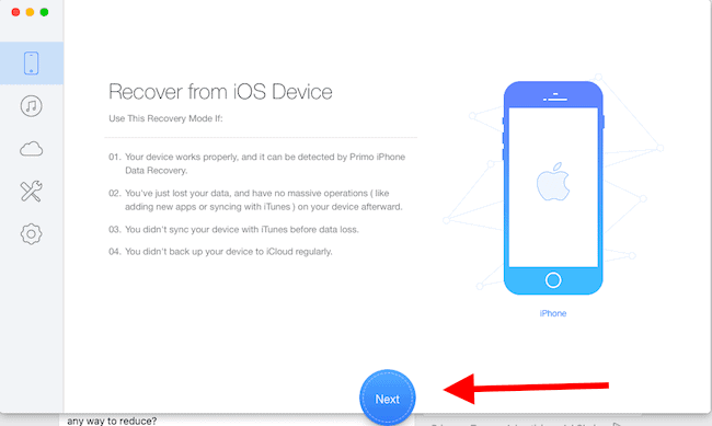 Click Next to recover deleted photos from iPhone