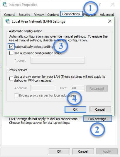Automatically detect Internet settings