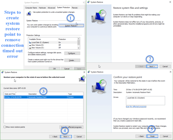 Create a system restore step by step procedure