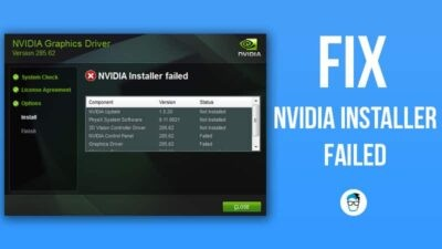 fix nvidia installer failed windows 10