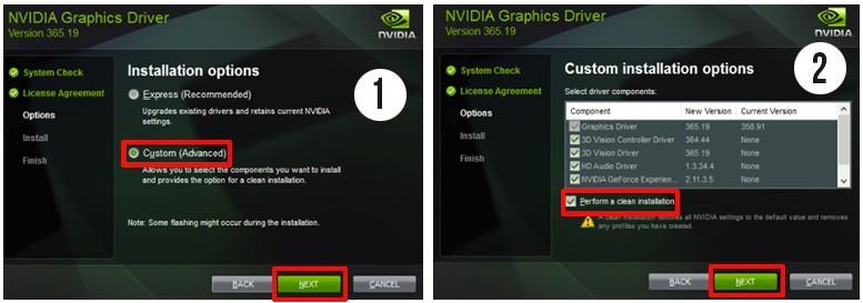 nvidia custom installation steps