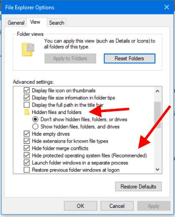 tick hidden files and folders checkbox
