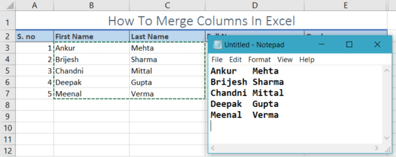 merge cells in excel