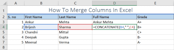 merge columns in excel using concatenate