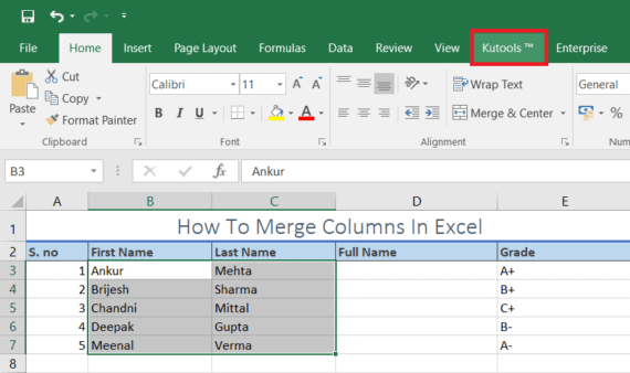 merge columns in excel using kutools