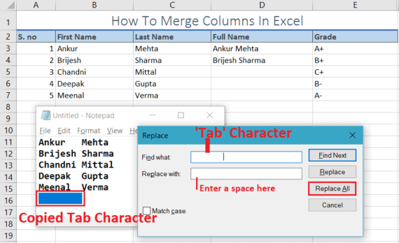 merge columns in excel using notepad