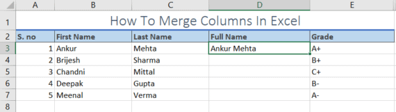 merge columns in excel
