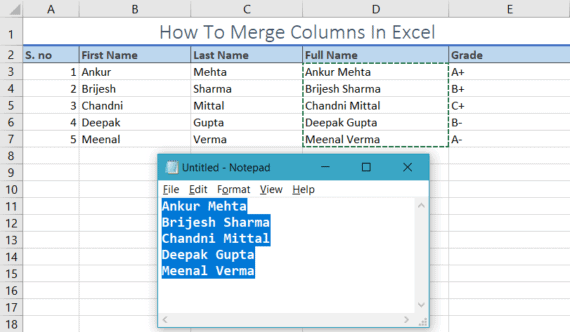 merge columns in excel with notepad
