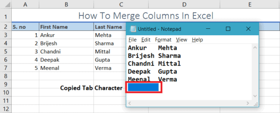 merge data in excel using notepad