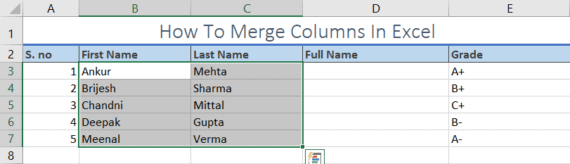 merge multiple columns in excel