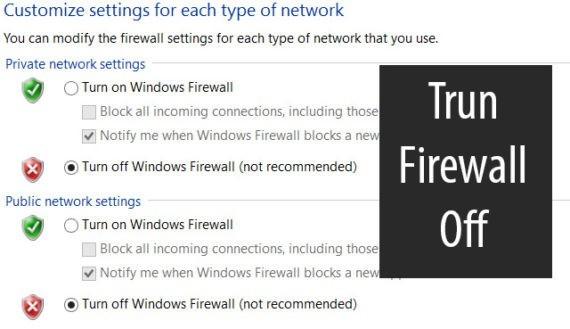 turn firewall off