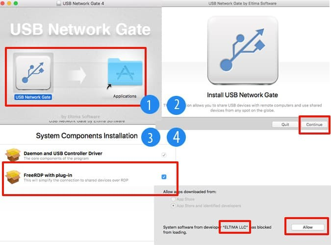 how to install USB Network Gate on Mac