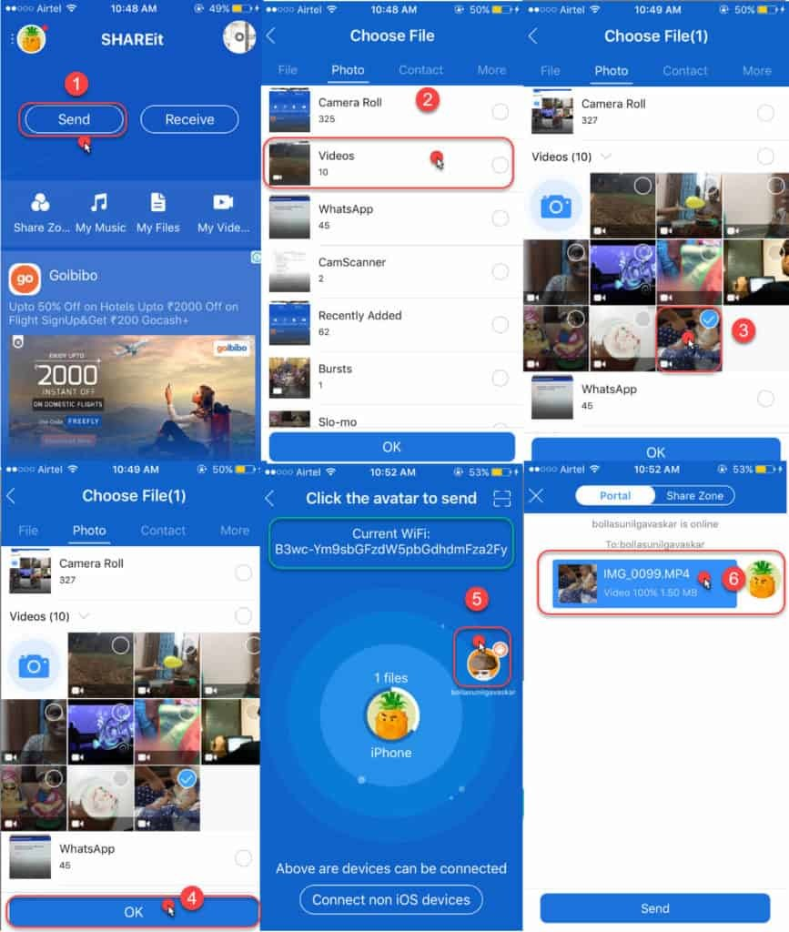 step by step procedure to send large videos from iPhone to Android Devices