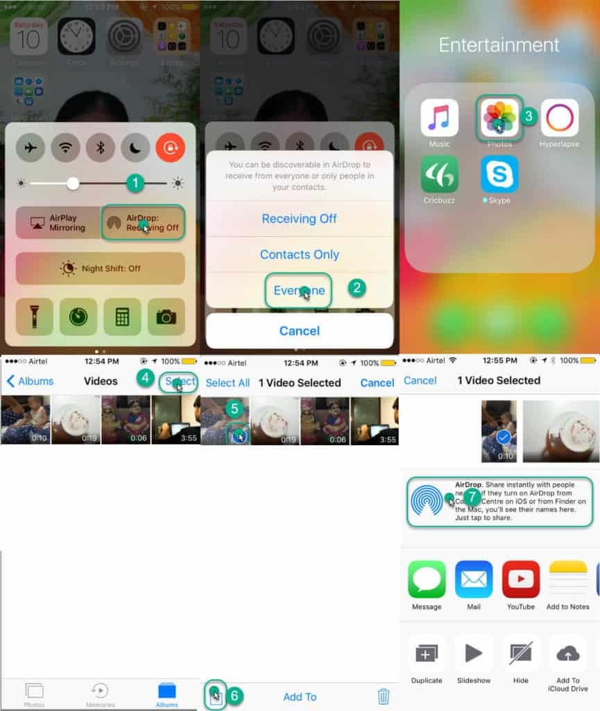 step by step procedure to send large videos from iPhone to iPad or iPhone