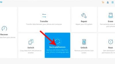 Select backup and restore option