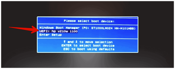 Select USB Disk to boot the recovery files